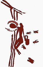 Honey seeker depicted on 8000 year old cave painting. At Araña Caves in Spain (Wikimedia Commons)